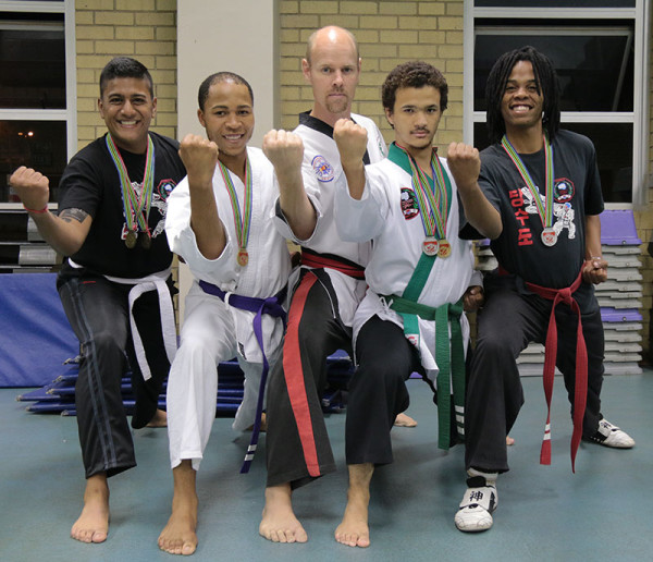 Wits University Tang Soo Do get ready for the South African Championships this weekend. From Left to right: Lushan Sundram, Robert Makoloane, Master Gregory Hart (trainer), Kim Lucas (Chairperson) and Ngwato Kekana Photo: Luke Matthews