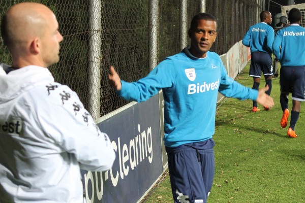 SUPER SUBS: Erwin Issacs talks tactics with the Bidvest Wits assistant coach before him and Asive Langwe went on to change the complexion of the game.