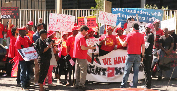 Protesters outside the SABC building at today's Right2Know protest against censorship. Photo: Lutho Mtongana