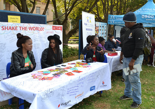 SHARING IS CARING:  Students engaging with NGO groups and learning about the different outreach projects at the NGO fair held today.  Photo:  Lameez Omarjee
