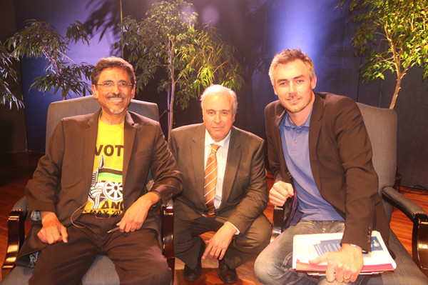 The ANC's Minister Ebrahim Patel, eNCA's host Jeremy Maggs and the DA's Tim Harris at last night's final Wits Great Debate. Photo: Bongiwe Tutu