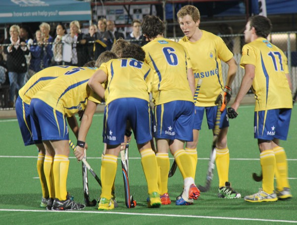 IMPROVING: Wits hockey team has a team talk over one of their short penalties which they failed to convert in their game against UCT. Photo : Luca Kotton