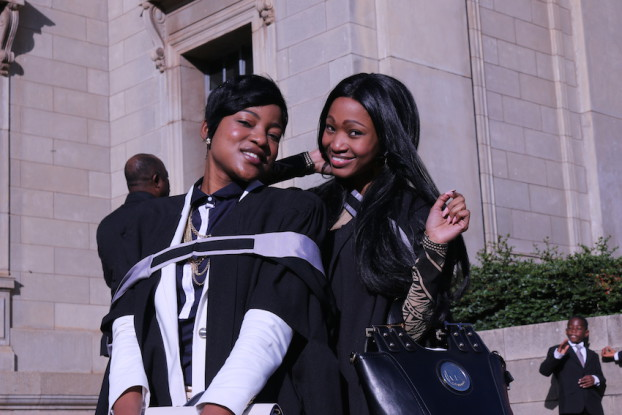 Wits health science beauties, Dalcalo  Mufamadi and Nandipha Ndhlovu (MBBCH) looking stunning on the Great Hall stairs. Photo: Tendai Dube