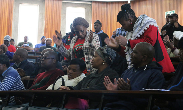 NEHAWU members singing and dancing at the start of the meeting on Wednesday afternoon. Photo: Roxanne Joseph