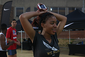Gonste Mathabathe worked up a real sweat after the 2.5 - 5 km run on Tuesday. Photo: Tendai Dube