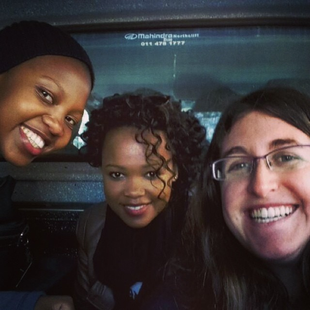 Best team building ever - stuck in the back of van. #teamvuvu. Left to right, Lutho Mtongana, Bongiwe Tutu, and Illanit Chernick