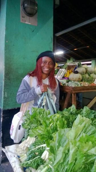 Teecee Boley finds local Liberian food in Johannesburg. Photo: Portia Kobue