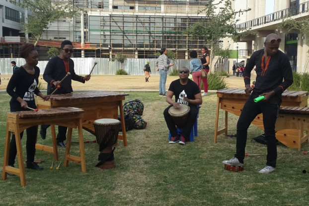 FEEL THE BEAT: Marumba band Affiti entertain attendees at the post-grad fair. Photo: Ilanit Chernick