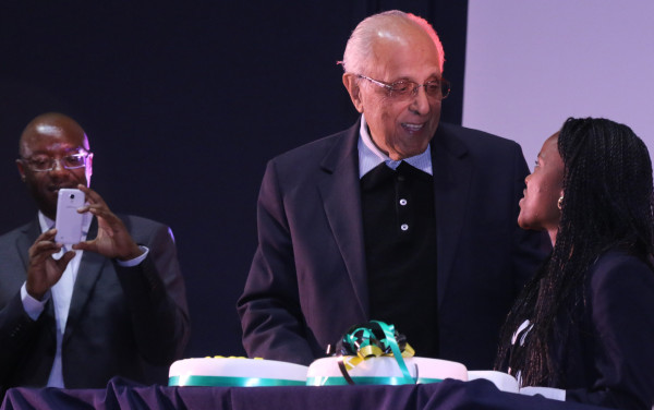 "HAPPY BIRTHDAY: Ahmed Kathrada stood to receive his birthday cake and for the singing of ""Happy birthday"". Photo: Luke Matthews"