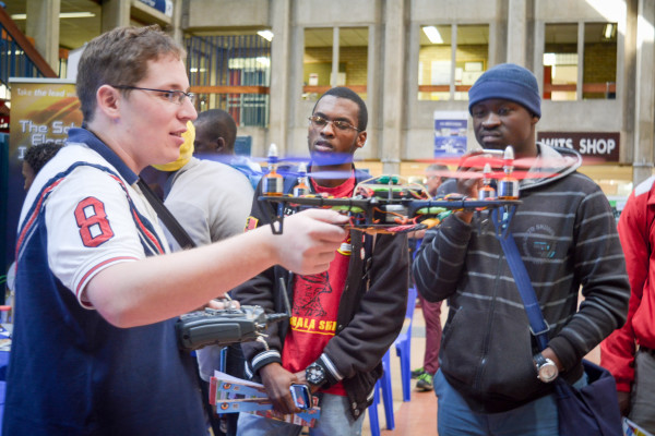 MULTI-COPTER: Electrical Engineering student Jarren Hilton Lange explains how his multi-propeller drone  is   remote controlled and cannot crash because of a stability factor.                    Photo: Zelmarie Goosen