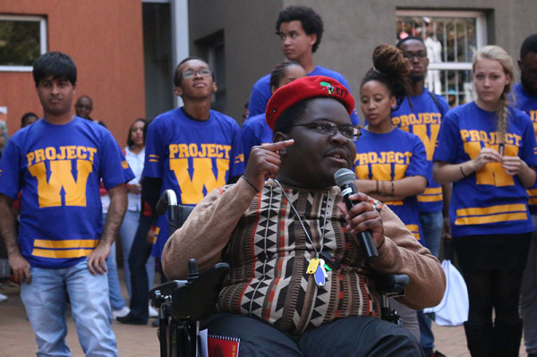 TRANSFORMATION AT PLAY: Wits EFF candidate Brian Sibanda at the SRC circus outside the FNB Building on Wednesday, giving closing remarks about transformation through creating sports for the disabled and changing the names. Photo: Lutho Mtongana