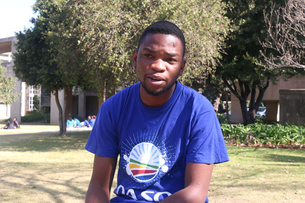 """SINKING SHIP: Daso members are not on the 2014/2015 SRC candidate list. Daso chairperson, Sihle Mthethwa said the members are running """"under other brands"""" because of insufficient candidates.    Photo: Nqobile Dludla"""