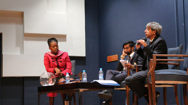 TOWNHALL POLITICS: Pamela Dube, Shafee Verachia and Adam Habib (left to right) fielding the audience questions about promises made. Photo: Palesa Tshandu