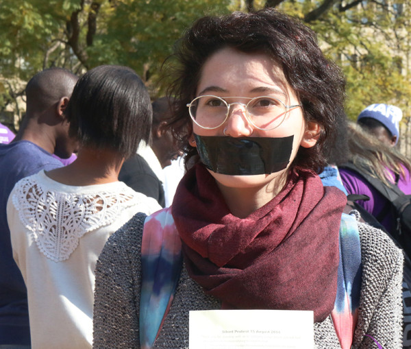 2nd year BA student Rosa Elk had her mouth taped shut during today's Silent Protest. Photo: Roxanne Joseph