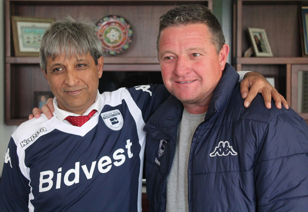 DERBY DAY: Professor Adam Habib and Bidvest Wits Coach Gavin Hunt swopped pleasantries as the Clever Boys rare for their derby clash with TUKS. Photo: Luca Kotton