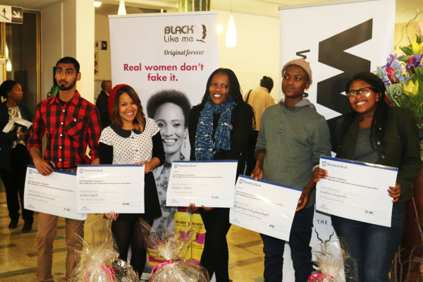 """HOT SHOTS: Winners of the """"Identity Through Hair"""" photographic competition, were announced last night at the John Moffat auditorium. From left: Junaid Sheik Hussein (public vote winner), Lanice Jegels (second place), Ntokozo Xaba (first place), Realeboga Lebogang Oagile (fifth place) and Lindiwe Gugushe (third place). Photo: Luke Matthews"""