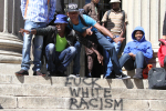 Racial statements were found written on the Wits Great Hall stairs on Friday morning. Photo: Luke Matthews
