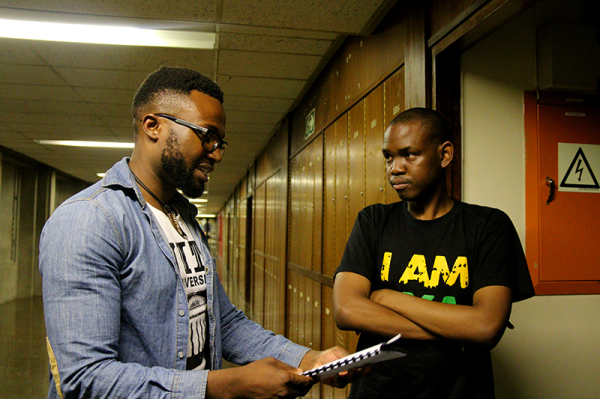 I PUT IT TO YOU: After Project W walked out of the SRC meeting, former SRC president, Sibulele Mgudlwa (Right) had a chat with Project W member, Jamie Mighti (left) who contested the procedure in which the meeting was conducted. Photo: Nqobile Dludla
