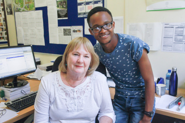 RETIRE OR NOT?: Gillian Renshaw (left) and Odwa Abraham in her offi ce at the Politics department. Photo: Valerie Robinson