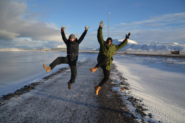 DANCING IN THE COLD: Oupa Sibeko dancing in the snow with a friend in Iceland. Photo: Provided