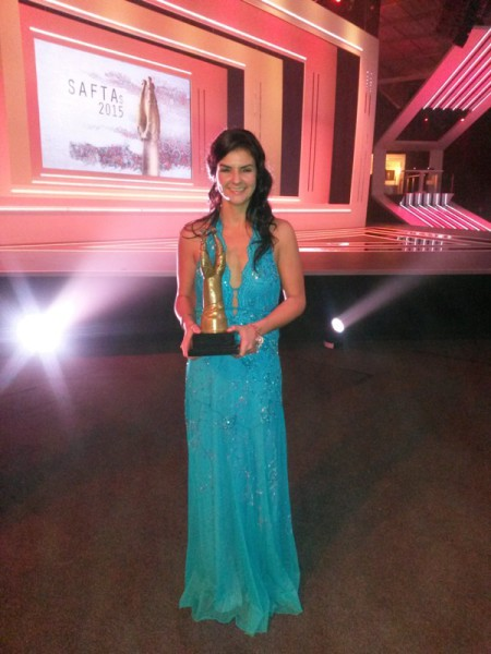 HONOURED STUDENT: Gena Du Plessis poses with the 'heavy horn' at the SAFTA's. Photo: Willie du Plessis