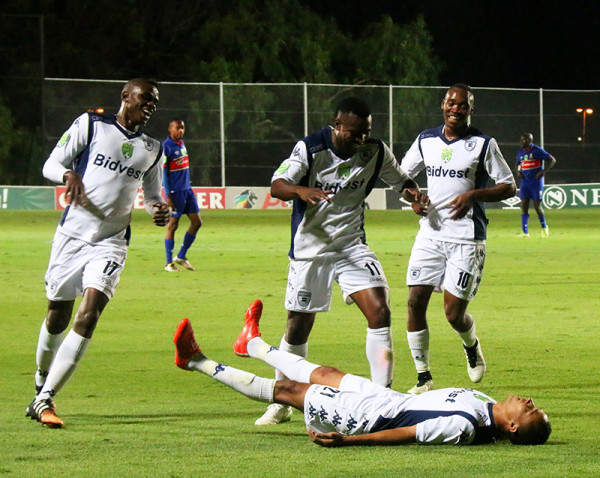 FROM ZEROS TO HEROS:  The opening goal came from Dutchman Cornelis Kwakman (on the floor) in the 39th minute from a set-piece. The Clever Boys ended the game with 3 goals, sending them into the quarterfinal of  the Nedbank Cup. Photo: Nqobile Dludla