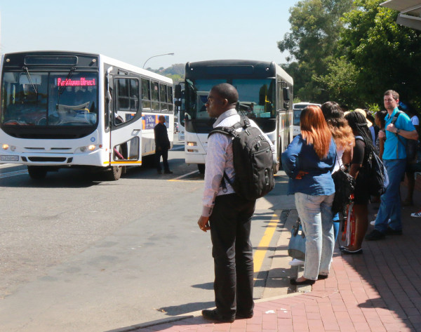 HIGH FOOT TRAFFIC: Witsies wait for the next possible bus at the Yale road bus stop.                                                                                                Photo: Valerie Robinson