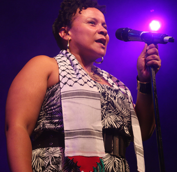FIERCE POETRY: Poet Lebogang Mashile spoke out against Israeli apartheid at the IAW concert on Friday. Photo: Michelle Gumede