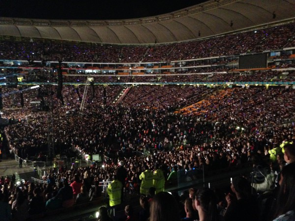 The crowd waiting to see One Direction at FNB Stadium on March 28. Photo: Tanisha Heiberg