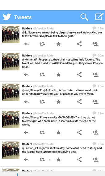 TWITTER OUTRAGE: A screenshot of the tweets sent out by mens res raiders yesterday.