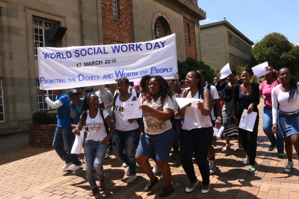 Students mini-march for World Social Work Day. PHOTO: Tendai Dube