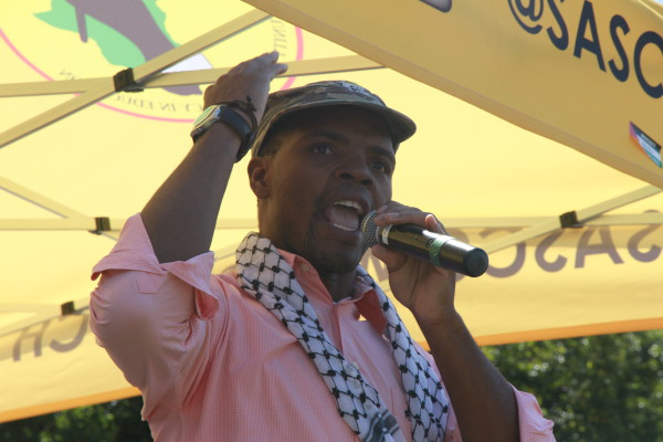 Wits SRC president, Mcebo Dlamini during his speech at the IAW rally. Photo: Reuven