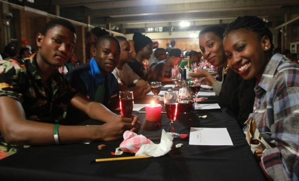 Agnes Mkhonza, Tumelo Ratlhago, Charles Simant and Duanne Manake (from right) ready to start getting to know each other at the Speed Dating night at Reith  Hall. Photo: Tanisha Heiberg
