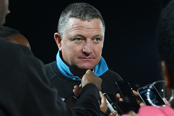 Bidvest Wits coach Gavin Hunt talks to journalists after his team was defeated by the Bloemfontein Celtics. Photo: Sinikiwe  Mqadi