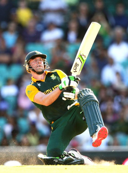 AB de Villiers hits the ball out the park during a match against the West Indies. Photo: G Rajaram