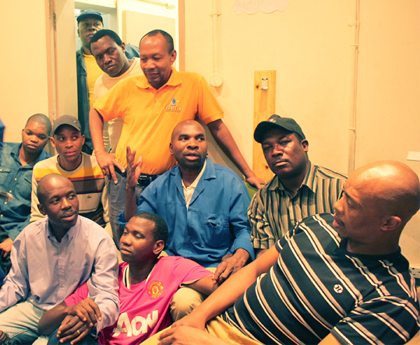 Outsourced electrical workers have occupied the MJL Electrical offices on campus, after not being paid. Photo: Roxanne Joseph