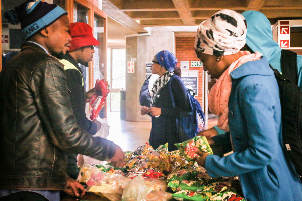 HAWKERS: Thabang Pkgope and Leepile Mompe, fourth year BEd students selling snacks to other students. Photo: Sinikiwe Mqadi