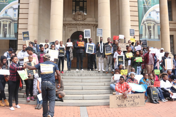 LEST WE FORGET: the group of youngsters ended their march at Gauteng Legislature where they sang the national anthem. Photo: Rafieka Williams