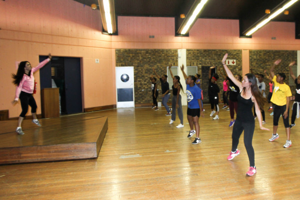 ZUMBA FOR CHARITY: Over 50 students attended what was a charity Zumba class, to help establish a toiletry bank.  Photo: Anelisa Tuswa