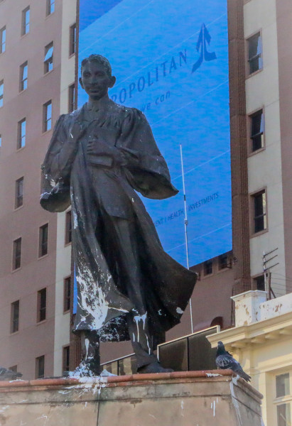 GHANDI DEFACED: The statue of Mahatma Ghandi smeared with white paint.