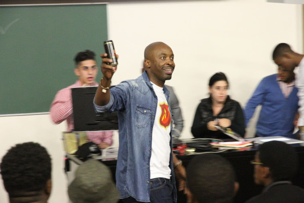 MOFAYA: DJ Sbu powers up while he motivates Wits students to start own businesses. Photo: Tanisha Heigberg