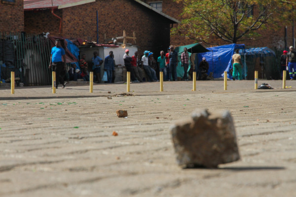 Stones and bricks were thrown at vehicles in Actionville, on the East Rand, after crowds threatened to attack foreign owned business on April 16. Photo: Reuven Blignault