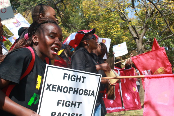 WE ARE AFRICANS:The Human Rights Commission at the People's March in Pieter Roos Park. Photo: Zimasa Mpemnyama