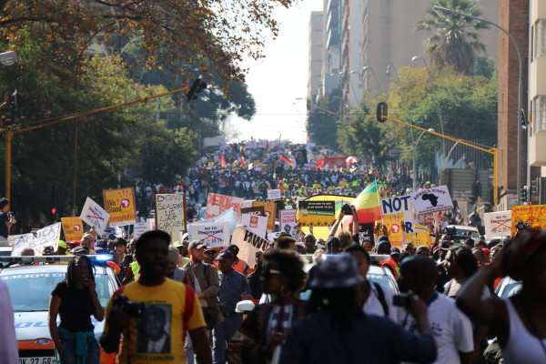 LARGE TURNOUT: Over 30 000 anti-xenophobia supporters marched down the streets of Hillbrow on their way to Newtown today to show their support for the anti-xenophobia march. Photo: Reuven Blignault.