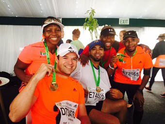 702 TEAM RUNS FOR HUMANITARIAN FUND: (from left) Jonathan Fairbairn, Pheladi Gwangwa, Udo Carelse, Xolani Gwala and Mzo Jojwana. Photo: Provided