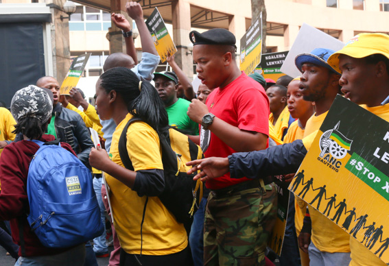 ANCYL MARCH: Member's of the ANCYL marching to Yoeville Recreational Centre in support against xenophobia. Photo: Riante Naidoo