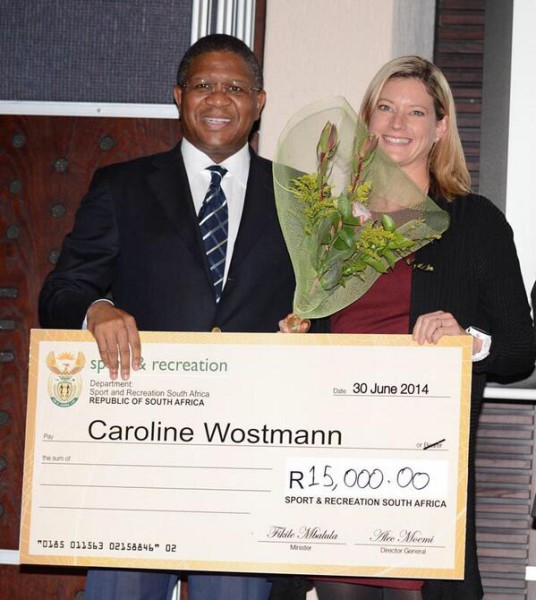Fikile Mbalula and Caroline Wostmann at Photo: Twiiter @RSASportsMin