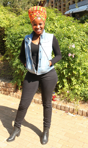 HEAD WRAPED: Fourth- year LLB student Lebo Shikwambani, sporting a vibrant head wrap to complete her 'all black' ensamble.