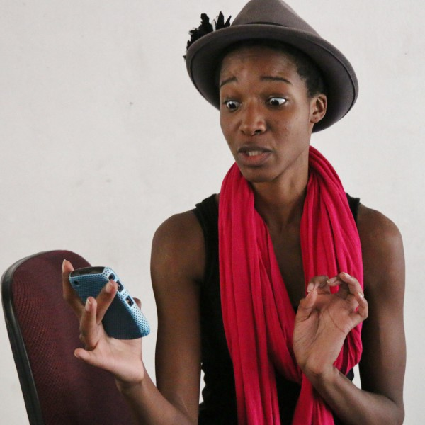 Peaceful Thulare, 1st year drama student in character from Foursight, the play she performed last weekend to raise the balance of her tuition fees. Photo: Riante Naidoo