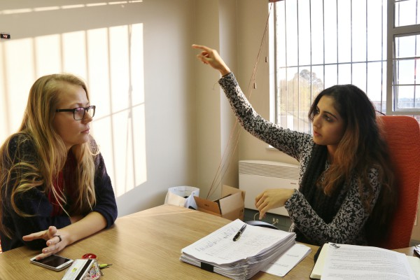 SRC FOR CHANGE: Tanya Otto (left) and Shaeera Kalla (right) discuss fine tuning concerns for the international student's memorandum which they will present to the DVC later this month. Photo: Riante Naidoo